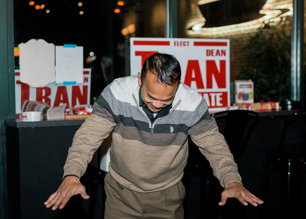 . Dean Tran bows down to his supporters while arriving at River Styx Brewing on Tuesday, December 5, 2017 after winning the special election. The special election was to fill the Worcester-Middlesex state Senate seat vacated by Jennifer Flanagan. SENTINEL & ENTERPRISE / Ashley Green