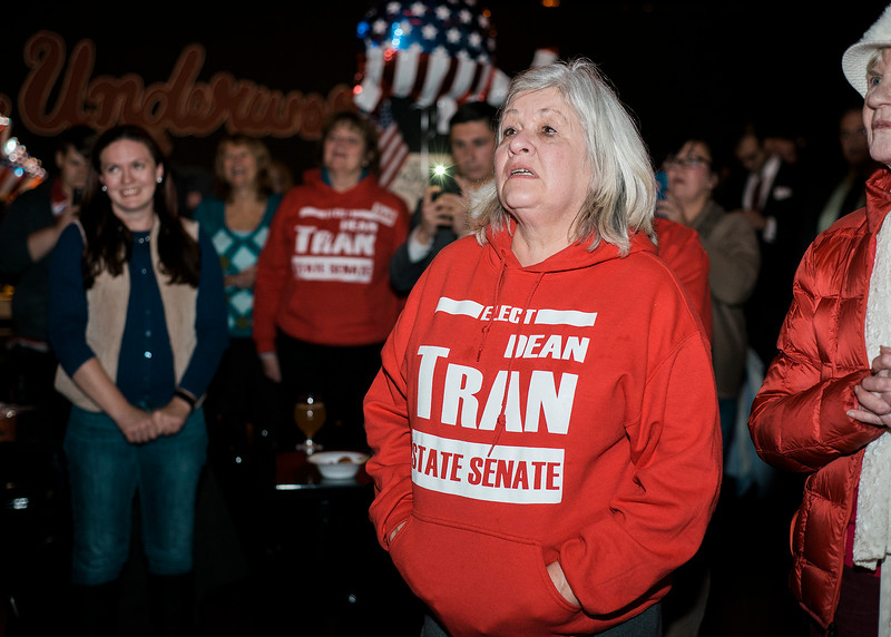 Deb Toivonen, along with other supporters, show their support for Dean Tran at River Styx Brewing on Tuesday, December 5, 2017 after winning the special election. The special election was to fill the Worcester-Middlesex state Senate seat vacated by Jennifer Flanagan. SENTINEL & ENTERPRISE / Ashley Green