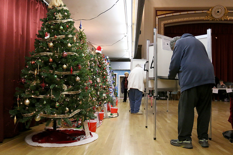 Frank Mazzarella fills out his ballot at the polls in Leominster City Hall on Tuesday December 5, 2017 for the Worcester Middlesex District State Senate race. SENTINEL & ENTERPRISE/JOHN LOVE