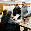 Former city councilor Angelo Bisol and wife Donna check-in at Saima Park during the general special election for the Worcester-Middlesex state Senate seat vacated by Jennifer Flanagan on Tuesday, December 5, 2017. SENTINEL & ENTERPRISE / Ashley Green