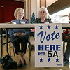 Waiting to check in voters at precinct 5A at Leominster City Hall is election workers Madeleine Marcoux, Marie Blondin and Marilyn Carter. SENTINEL & ENTERPRISE/JOHN LOVE