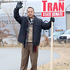 Candidate Dean Tran waves to voters out in front of the polls at the St. Bernard's Activity Center in Fitchburg on Tuesday December 5, 2017 during the Worcester Middlesex District State Senate race. SENTINEL & ENTERPRISE/JOHN LOVE