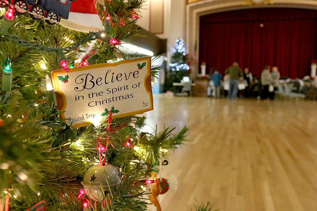 . The John R. Tata Auditorium was decked out with festive Christmas trees at Leominster City Hall on Tuesday December 5, 2017 during the Worcester Middlesex District State Senate race. SENTINEL & ENTERPRISE/JOHN LOVE