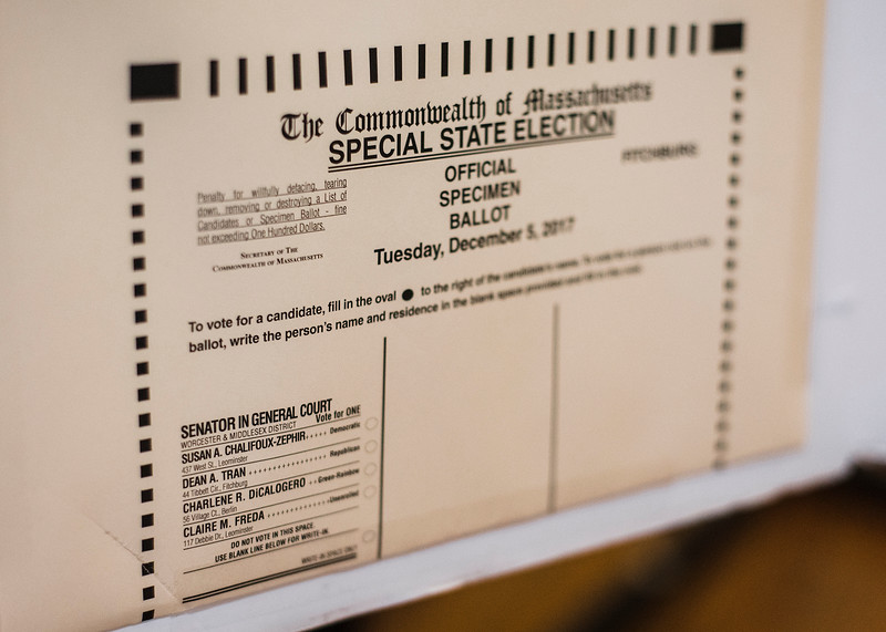 Poll workers reported a low turnout at the Fitchburg Senior Center during the general special election for the Worcester-Middlesex state Senate seat vacated by Jennifer Flanagan on Tuesday, December 5, 2017. SENTINEL & ENTERPRISE / Ashley Green