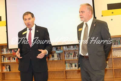 State BOE Member Mike Cheokas, left, and State Superintendent Richard Woods