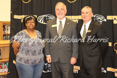Chattahoochee County Board of Education Member Shirley Jones, State Superintendent Richard Woods, and Chatt. Co. Superintendent David McCurry