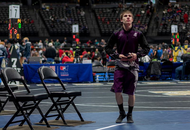 Estes Park High School sophomore Elijah Kitchen mentally prepares himself for his second-round match of the 2019 CHSAA 3A State Wrestling Championships at the Pepsi Center over the weekend.