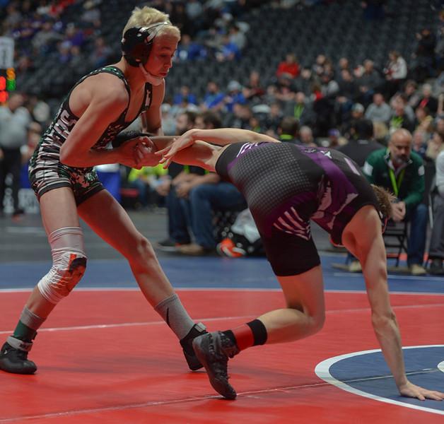 Brady Hankin attempts to takedown Elijah Kitchen.