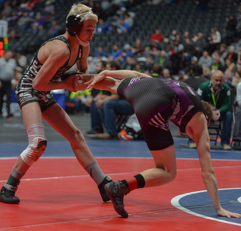. Brady Hankin attempts to takedown Elijah Kitchen.