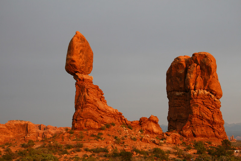 Balanced rock with sunset light