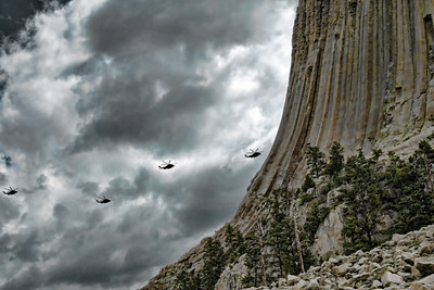 Copters arriving at Devil's Tower