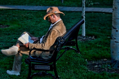 Getting a good read before the sun goes down, Jackson Hole, WY