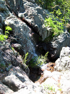 Looking down at the falls -- it dries up in summer and wasn't flowing terribly heavily.