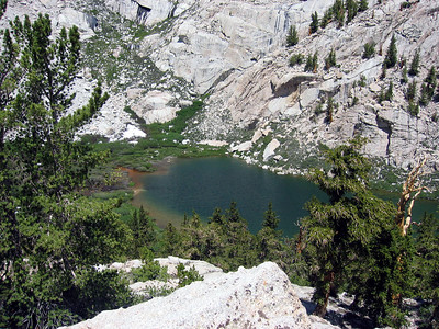 Looking down on Mirror Lake -- you can see the silt ring around the edge