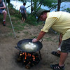Frying the fresh catch!