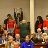 KRISTOPHER RADDER — BRATTLEBORO REFORMER<br /> A group of climate change protesters interrupts Vermont Gov. Phil Scott's State of the State address at the Vermont State House, in Montpelier, Vt., on Thursday, Jan. 9, 2020.