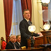 KRISTOPHER RADDER — BRATTLEBORO REFORMER<br /> Vermont Gov. Phil Scott delivers his State of the State address to a joint session of the general assembly in the house chambers at the Vermont State House, in Montpelier, Vt., on Thursday, Jan. 9, 2020.