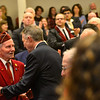 KRISTOPHER RADDER — BRATTLEBORO REFORMER<br /> Richard Hamilton, of Marlboro, Vt., shakes the hand of Vermont Gov. Phil Scott as he enters the house chambers at the Vermont State House, in Montpelier, Vt., before delivering his State of the State address on Thursday, Jan. 9, 2020.