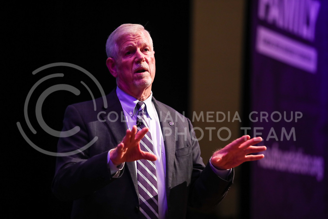 Richard Myers, Kansas State University President, presents his State of University at Forum Hall in Manhattan, Kan. on September 29, 2017 (Cooper Kinley   Collegian Media Group)