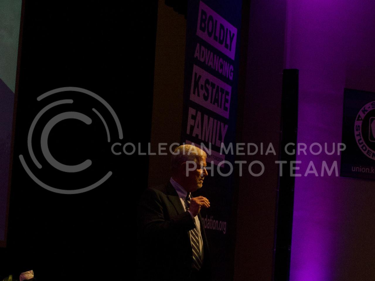 Richard Myers, Kansas State University President, presents his State of University at Forum Hall in Manhattan, Kan. on September 29, 2017 (Saya Kakim   Collegian Media Group)