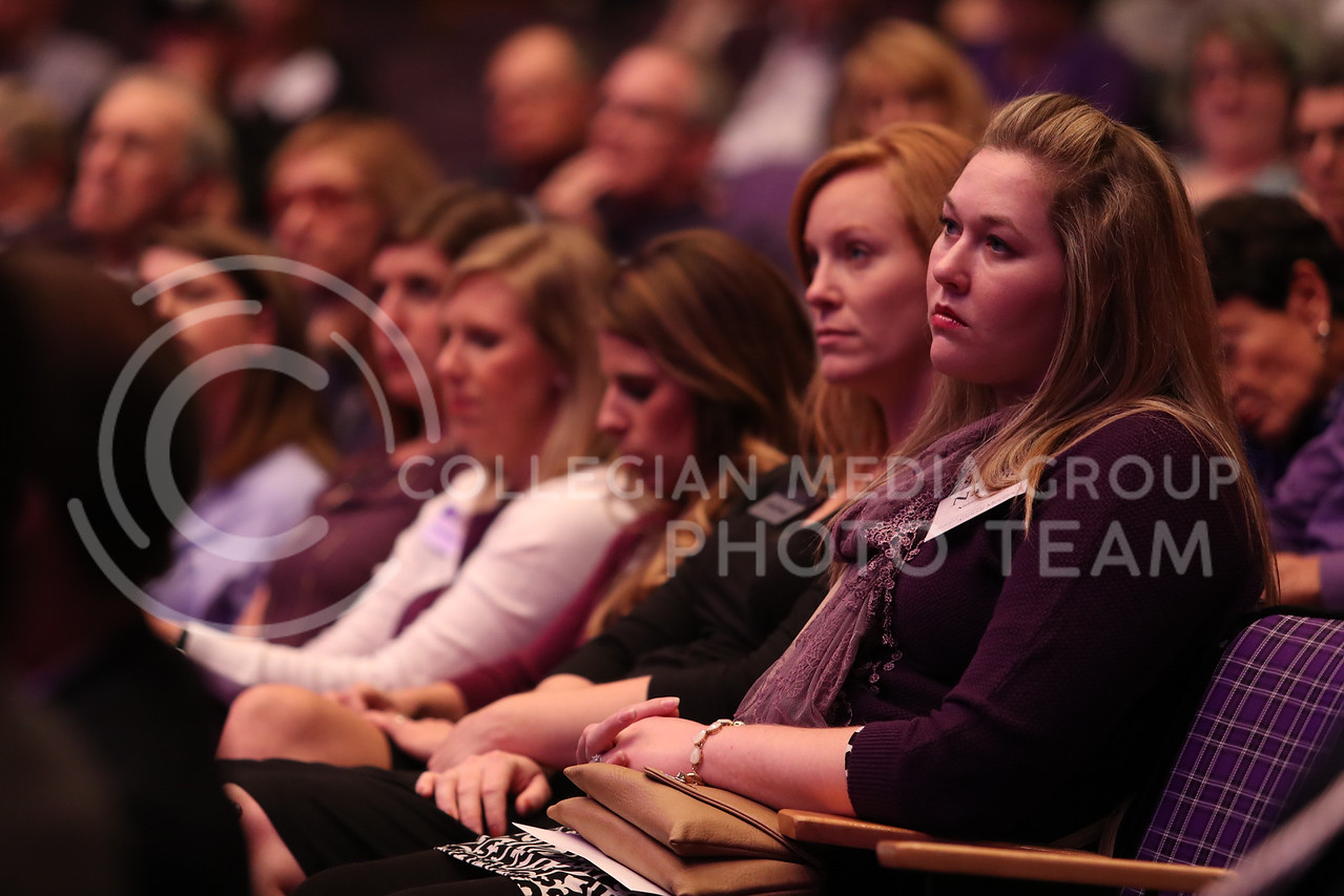 People watch as Richard Myers, Kansas State University President, presents his State of University at Forum Hall in Manhattan, Kan. on September 29, 2017 (Cooper Kinley | Collegian Media Group)