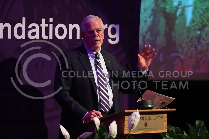 Richard Myers, Kansas State University President, presents his State of University at Forum Hall in Manhattan, Kan. on September 29, 2017 (Cooper Kinley | Collegian Media Group)