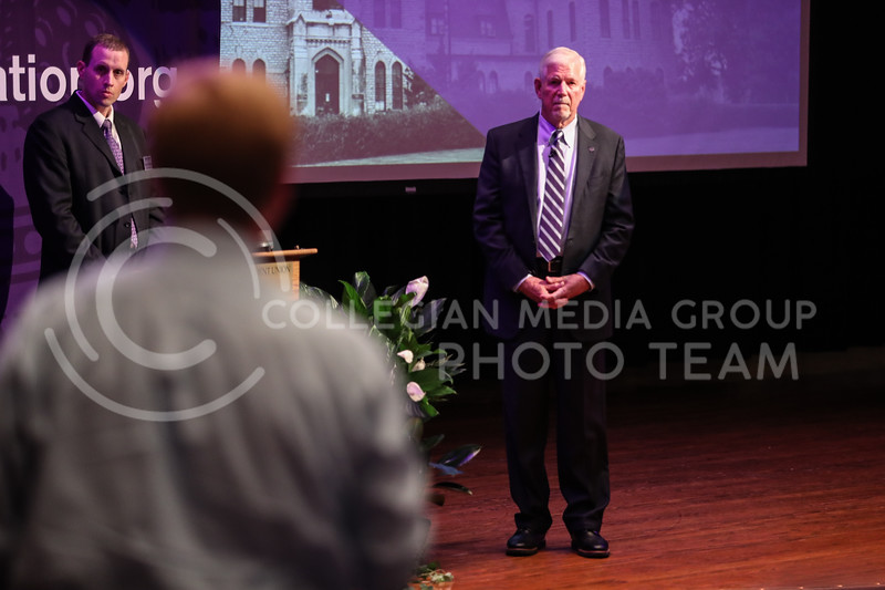 Richard Myers, Kansas State University President, answers an audience member's question during his State of University Presentation at Forum Hall in Manhattan, Kan. on September 29, 2017 (Photo by Cooper Kinley | Collegian Media Group)
