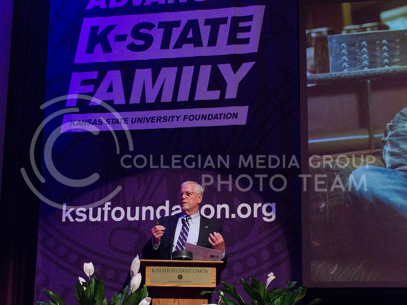 Richard Myers, Kansas State University President, presents his State of University at Forum Hall in Manhattan, Kan. on September 29, 2017 (Saya Kakim | Collegian Media Group)