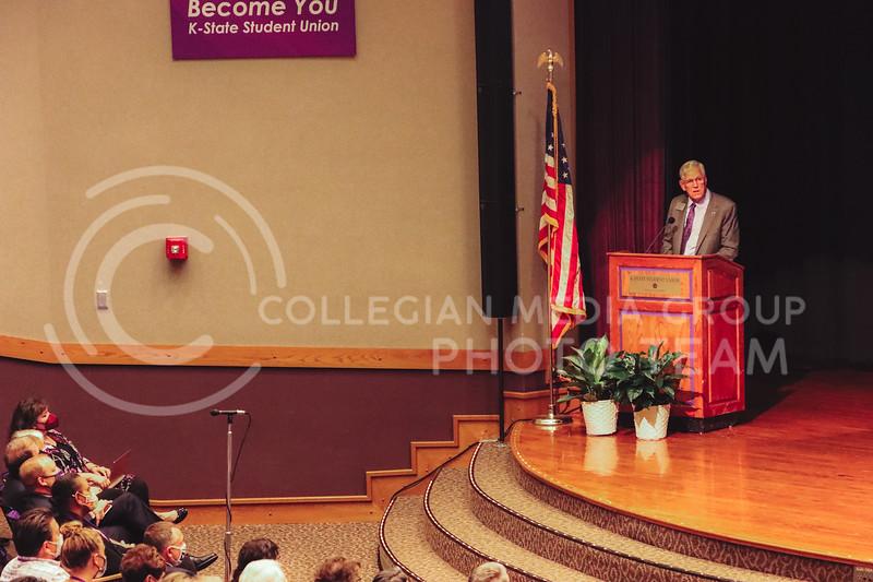 President Richard Myers delivered his final State of the University address in Forum Hall on Friday September 17th. (Deborah Adeniji   Collegian Media Group)