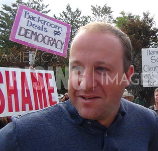 Polis At Town Hall And Anti-Fracking Protest In Boulder, CO