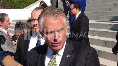 Terry McAuliffe attends an economic development announcement at the State Capital - Richmond, VA