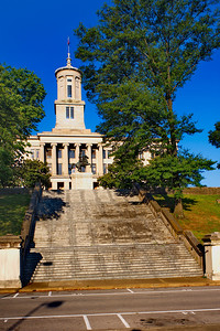 Tennessee State Capitol Building from east viewpoint with steps