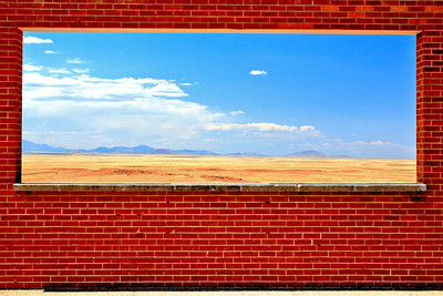 "View from the Meteor Monument.  This is an ""Open Air"" Wall with a Window to the Mountains."