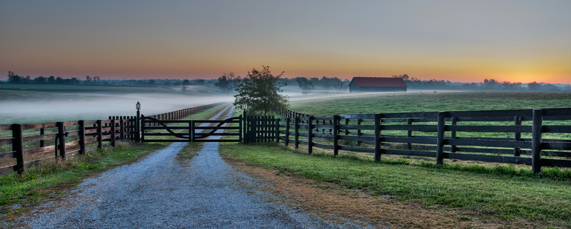 Early Morning Fog at Kentucky Horse Farm