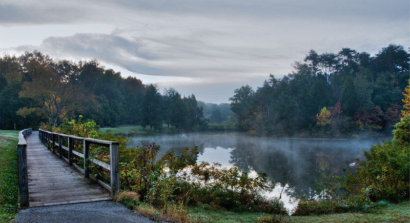 Fog on Holy Pond at Bernheim Arboretum