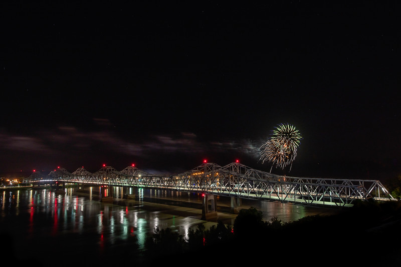 Fireworks Over The Natchez Bridges