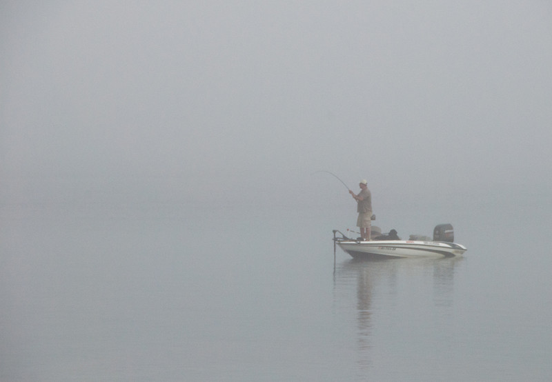 Fishing in the Fog from a Boat