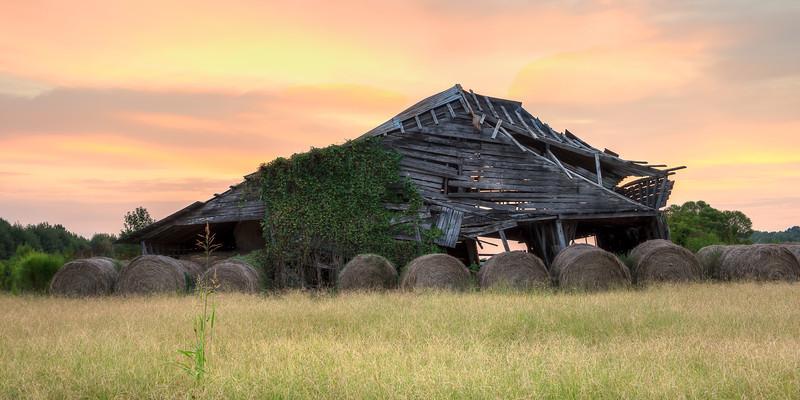 Decaying Barn at Dawn - 10 x 20 crop