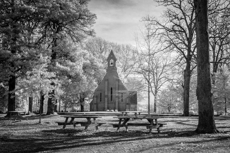 Chapel Of The Cross in Infrared B&W