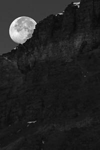Moon Setting - Glacier National Park