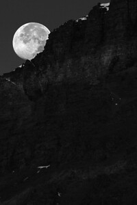 Moon Setting Over Glacier - Glacier National Park, Montana