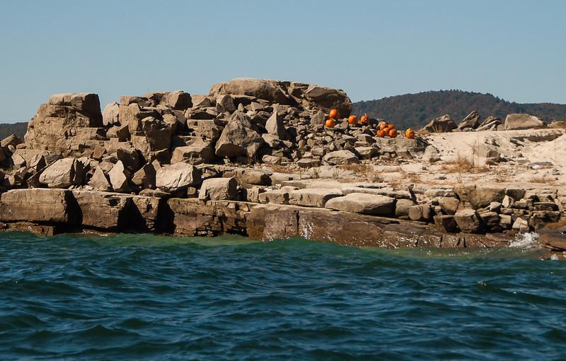 Pumpkins On Rocks at Lake Jacassee