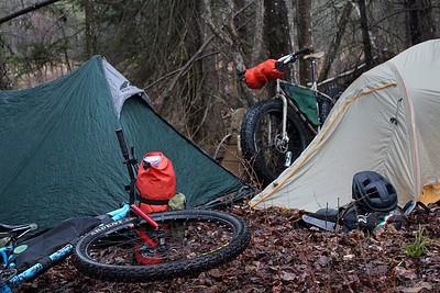 Camping along bikepacking route