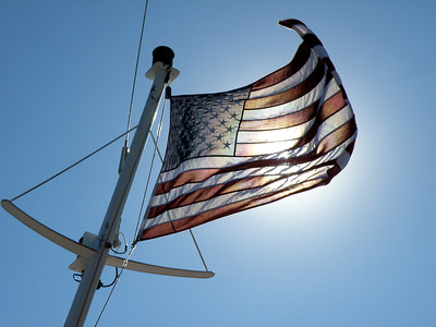 """Old Glory"" On the Boat to Washington Island, Door County, Wiconsin"