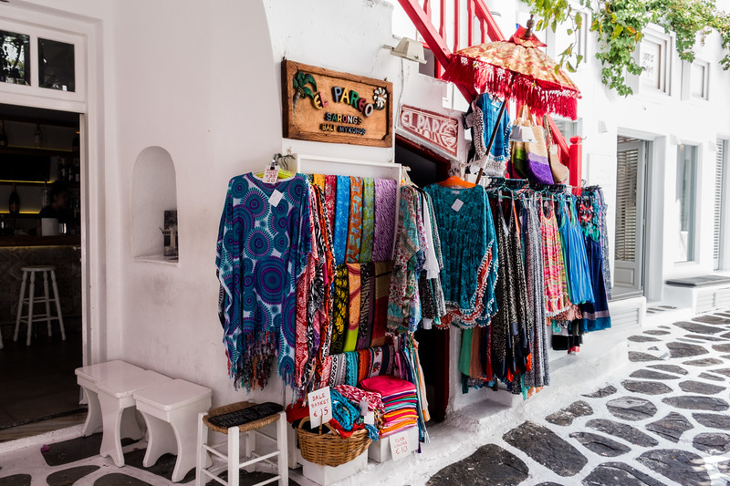Colorful Fabrics; Mykonos, Greece