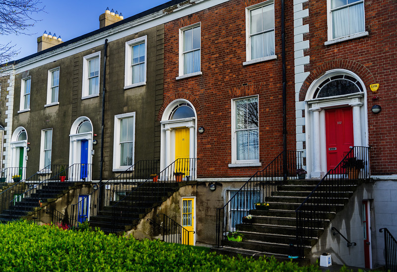 Colored Doors in Clontarf, Ireland