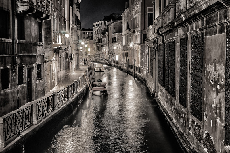 Night Canal Scene - B&W
