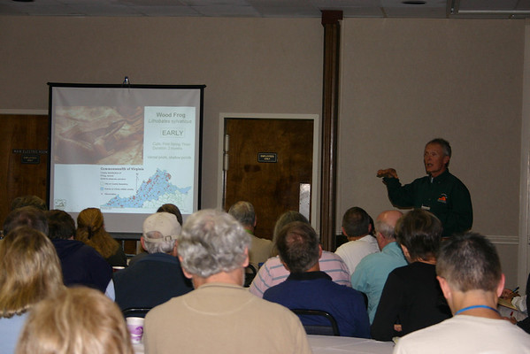 Lou Verner (VA Department of Game and Inland Fisheries) entertains a standing-room-only room with frog calls.