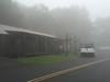 The conference hall in fog at Skyland Resort in Shenandoah National Park.