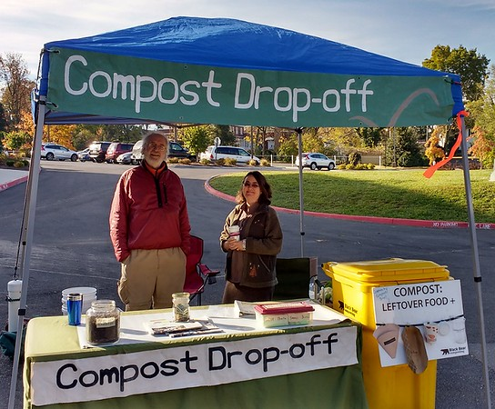 """Photo by Adrie Voors (VMN-Headwaters Chapter). The Harrisonburg Farmers Market managers have attributed our Market Compost Drop-off program with their receiving a Virginia Green Travel Award as indicated in the newsletter under """"Proudly Green"""" below, dated December 1, 2017. This project is coordinated by Adrie Voors (VMN-Headwaters Chapter) and Art Fovargue (another dedicated community member), and is a Headwaters Master Naturalists' project which collaborates with the Climate Action Alliance of the Valley (CAAV), a local small not-for-profit which lets us use their website and treasury.  To date, seven Headwaters Chapter members have participated in the project."""
